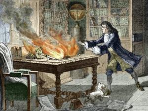 Notatki Newtona Opticksa w płomieniach. Wypadek miał miejsce w Trinity College na Uniwersytecie Cambridge w 1692 r.